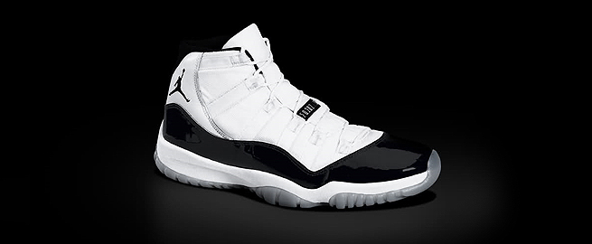 """The Air Jordan 11 Concord is widely regarded as one of, if not the most, popular sneakers of all-time. A white upper is met by a   black patent leather mudguard and translucent sole. Concord herringbone pads are visible on the outsole giving way to the the nickname. Michael Jordan debuted the Air Jordan 11 Concord during his comeback in the 1995 NBA Playoffs. The Air Jordan 11 released in 1995 and later retroed in 2000. Winter of 2011 will see the return of the Air Jordan 11 Concord...""-nicekicks.com"
