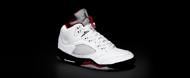 The original Air Jordan V was released in February 1990, again designed by Hatfield. Some elements were the same from the Air Jordan IV, but the Air Jordan V's most distinctive feature is arguably its reflective tongue.There was also another innovation: clear rubber soles. The soles   gave the shoe a whole new and unique look, but it yellowed over time   when exposed to moisture. To combat this problem, collectors stored the shoes in a cool, dry place with a desiccant at the soles, most commonly silica.- wikipedia.org