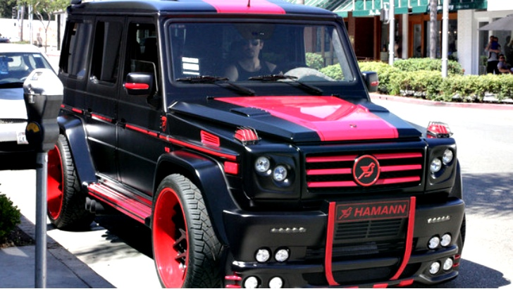 Martial artist and actor, Anton Kasabov was spotted in Beverly Hills recently with his Mercedes-Benz G-Wagon customized by Hamman Motorsport. Usually we like the work Hamman does but this thing is hideous. [via celebritycarsblog.com]