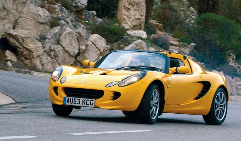 The Lotus Elise is a two seat, rear-wheel drive, mid-engined roadster conceived in early 1994 and released in September 1996 by the English manufacturer Lotus Cars. The car has a hand-finished fibreglass body shell atop its bonded extruded aluminium chassis that provides a rigid platform for the suspension, while keeping weight and production costs to a minimum. The roadster is capable of speeds up to 240 km/h (150 mph).[2] The Elise was named after Elisa, the granddaughter of Romano Artioli who was chairman of Lotus at the time of the car's launch