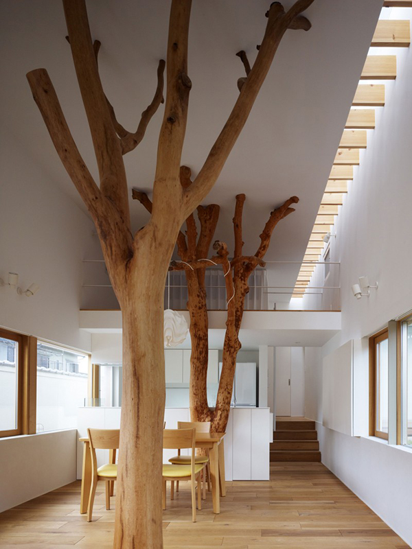 Trees Integrated  Contemporary Home in Japan Integrating Real Trees in The Structure