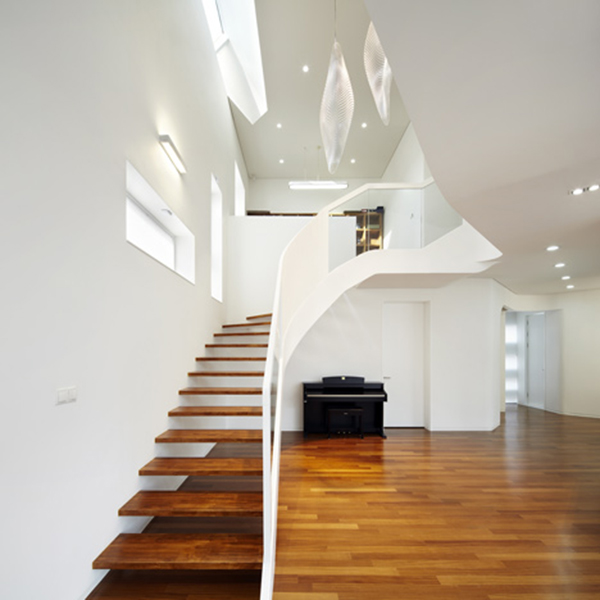 Stairs1 Curvy Eccentric White Residence With Square Perforations