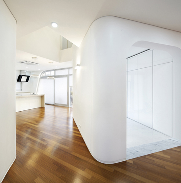 Interior1 Curvy Eccentric White Residence With Square Perforations