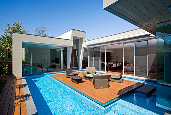 Swimming Pool And Wooden Dock Gorgeous Contemporary Home Inspired By The Summer