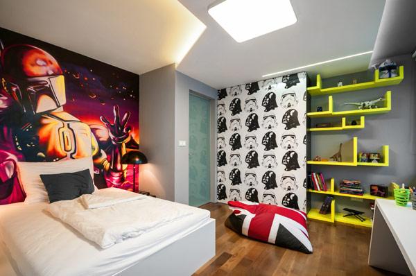 modern boy room 5 Inspiring Bedrooms for Boy and Girl in Modern Slovakian Crib